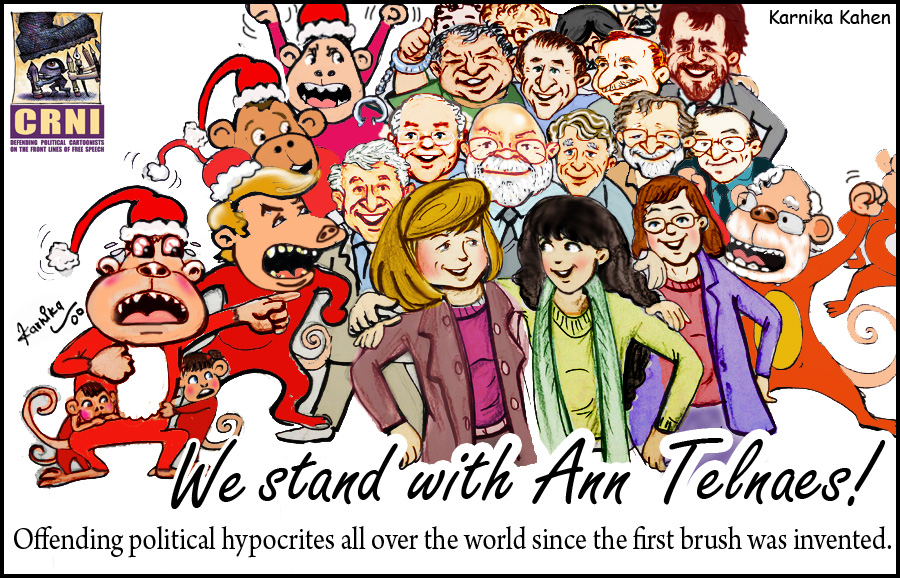 We Stand With Ann Telnaes, illustration by Courage in Editorial Cartooning recipient Kanika Mishra
