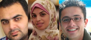 Photos of the cartoonists Osama Nazzal, Marwa Alhelo and Mohammad Saba'aneh