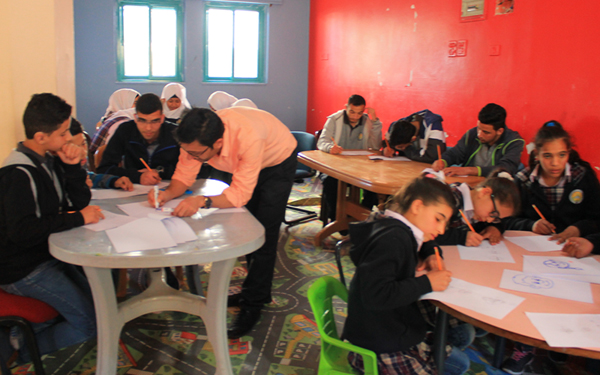 Mohammad Saba'aneh and students at the Islamic School for the Deaf, Ramallah, Palestine