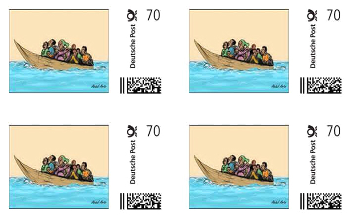2016 World Refugee Day stamp by Abdul Arts