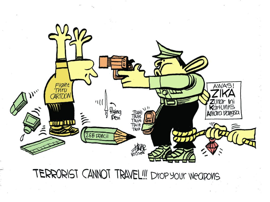 Zunar cartoon dated Oct 18th 2016, reacting to his travel ban.