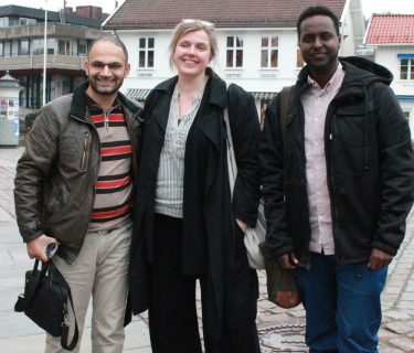 "left-to-right: Fadi Abou Hassan, Norwegian cartoonist Siri Dokken, and Abdul ""Arts"" (click to enlarge)"