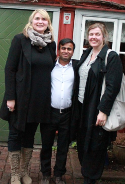 Arifur Rahman, with Norwegian cartoonists Randi Matland and Siri Dokken