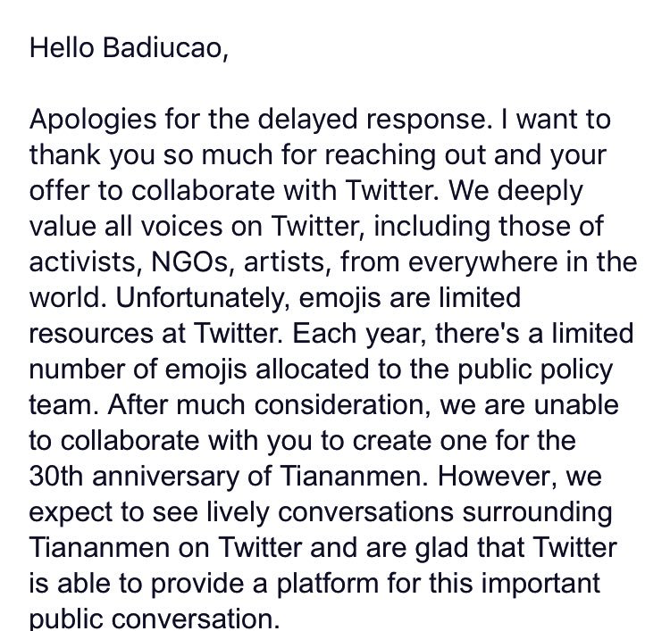 "Twitter's letter to cartoonist Badiucao, rejecting his submission of a ""Tank Man"" emoji for Tiananmen Square commemoration."