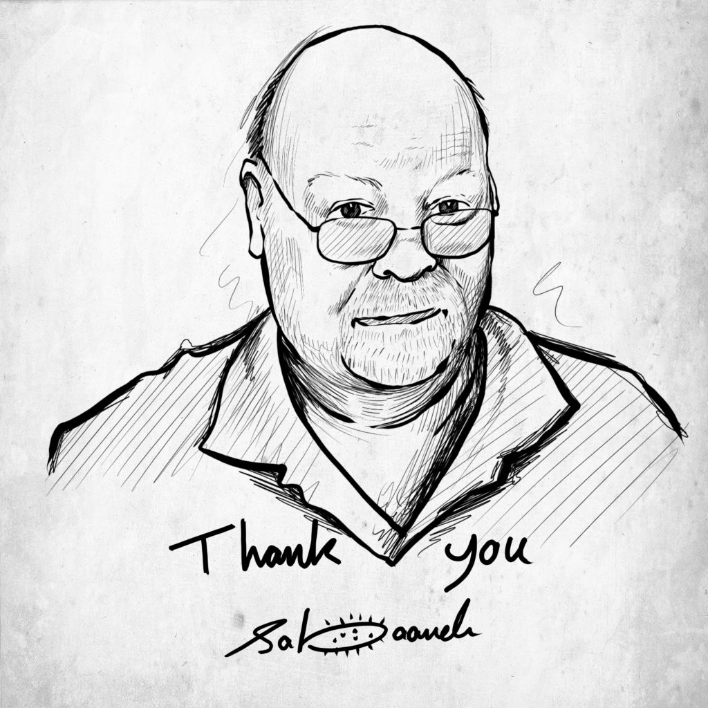 "Portrait of Cartoonists Rights Network International founder and outgoing ezwcruive director Dr Robert ""Bro"" Russell by Palestinian cartoonist Mohammad Saba'aneh."