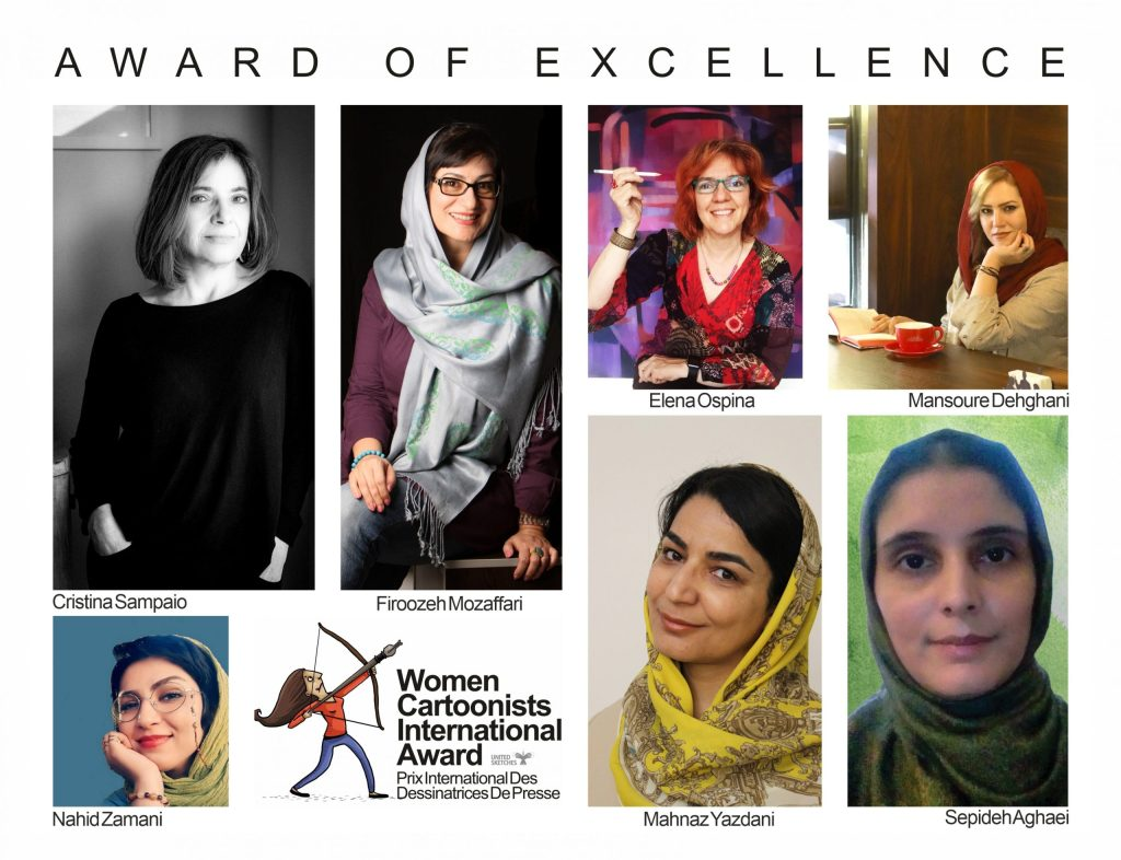 United Sketches, Women Cartoonists International Awards, Excellence Winners